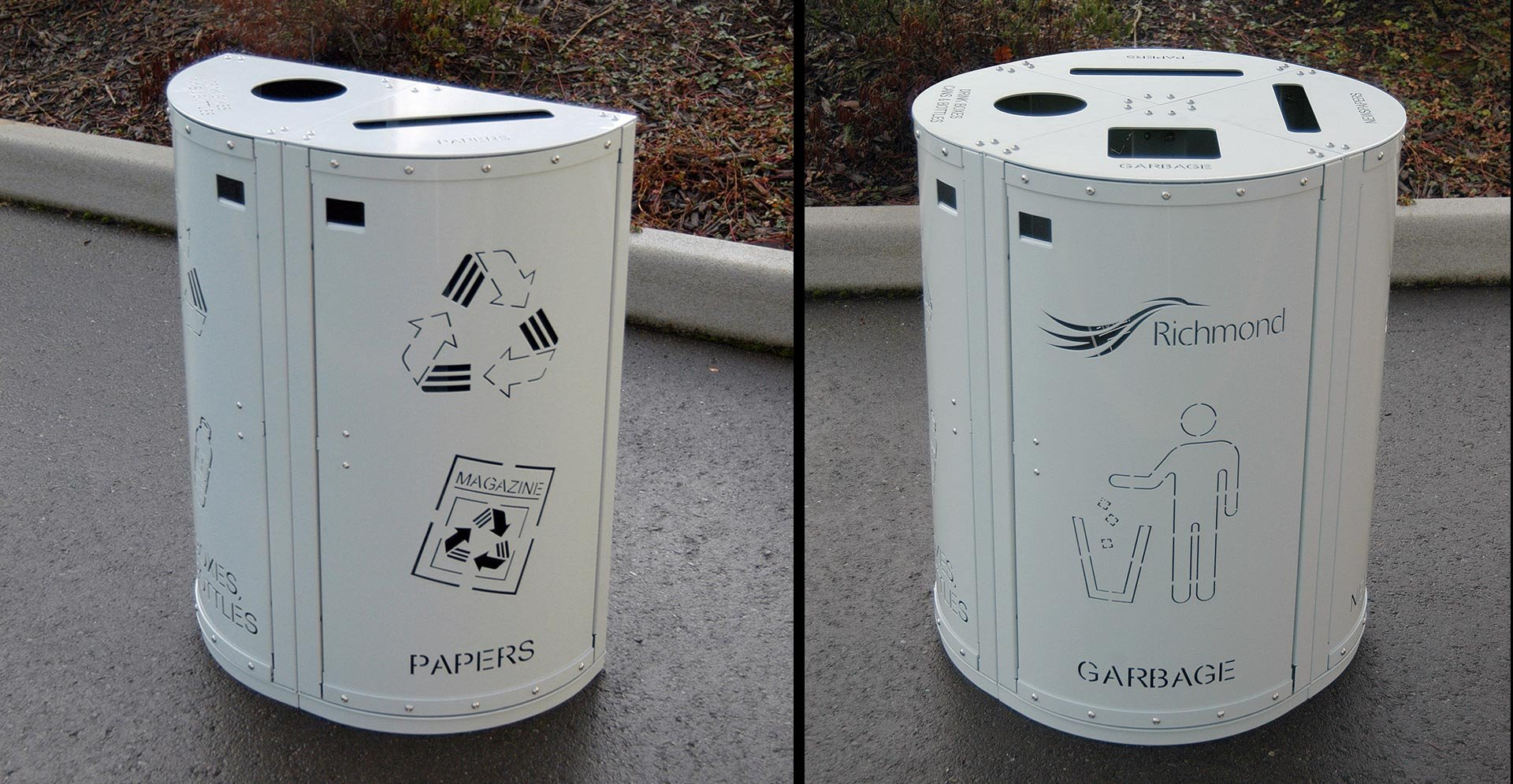 This trash bin is perfect for wall placement or in an open space