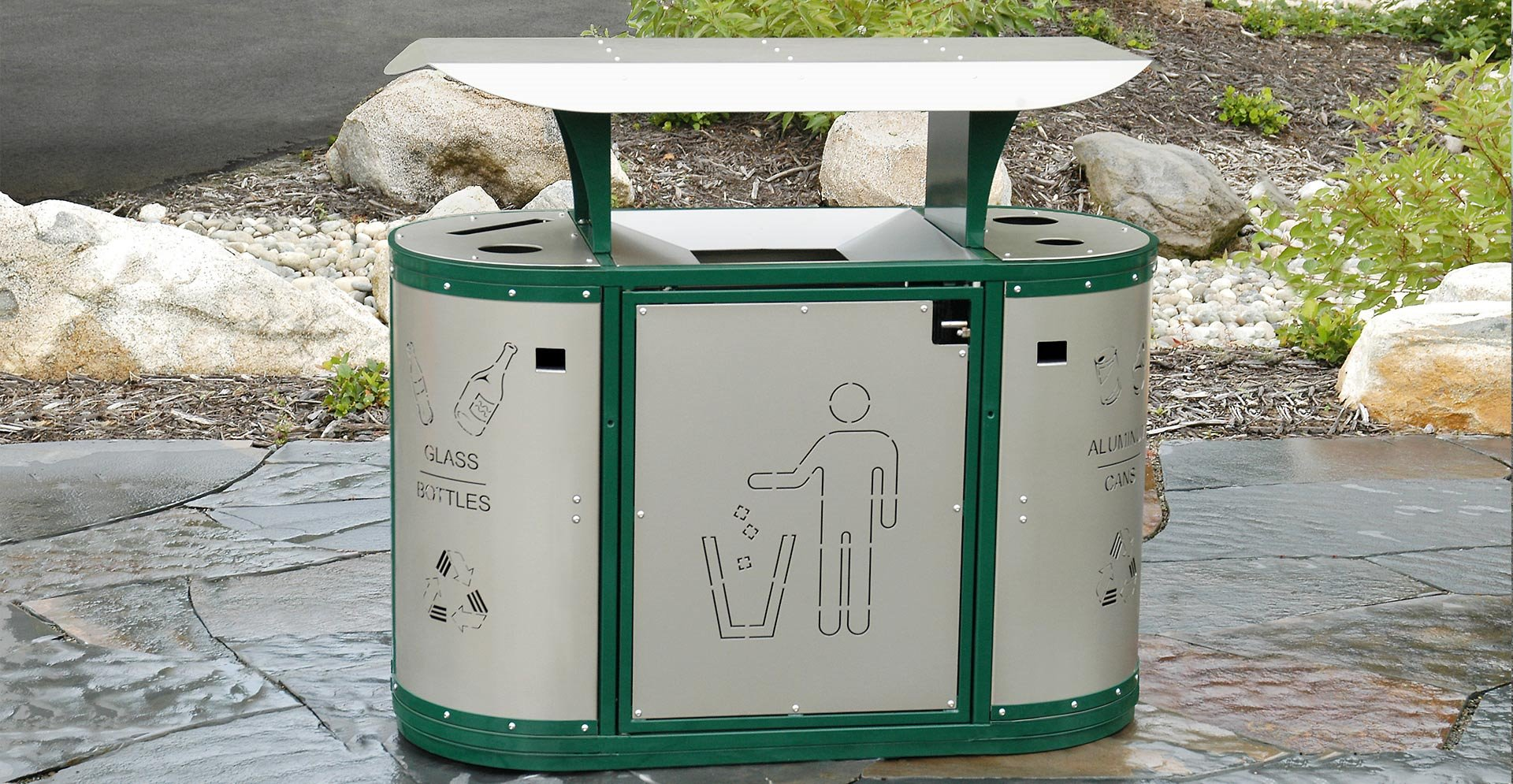 Free standing commercial trash bin with 3 compartments