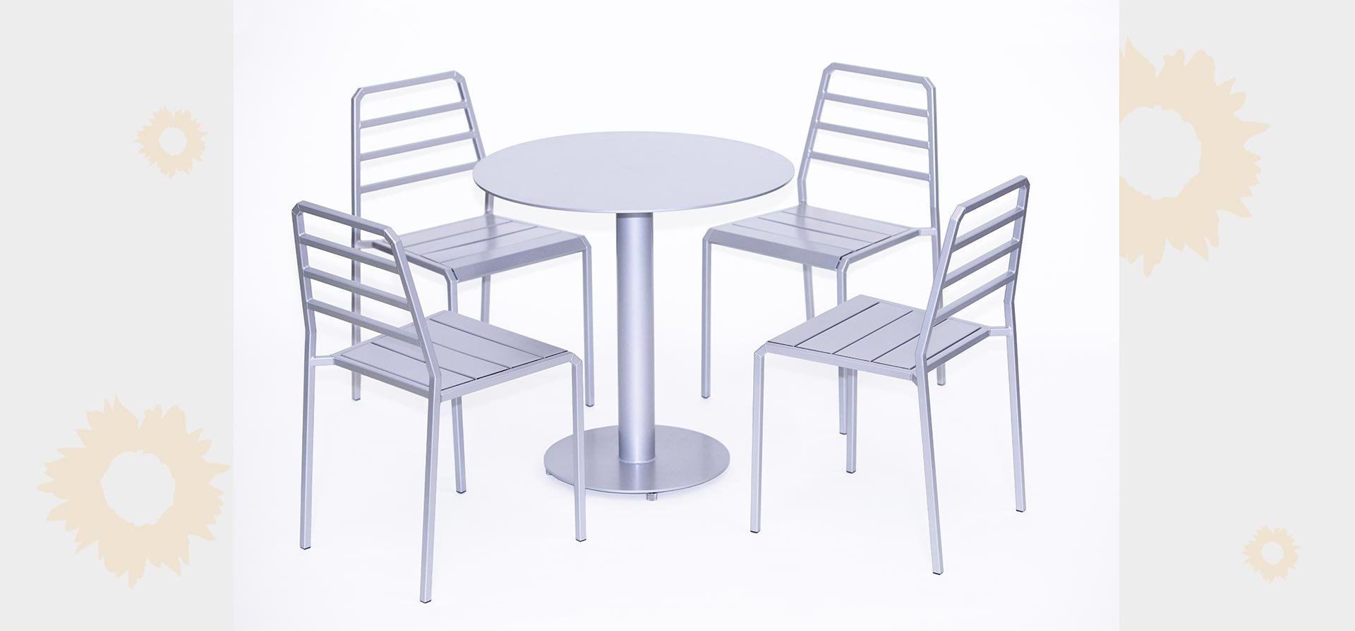 Huddle 30 inch high cafe table with Host chairs