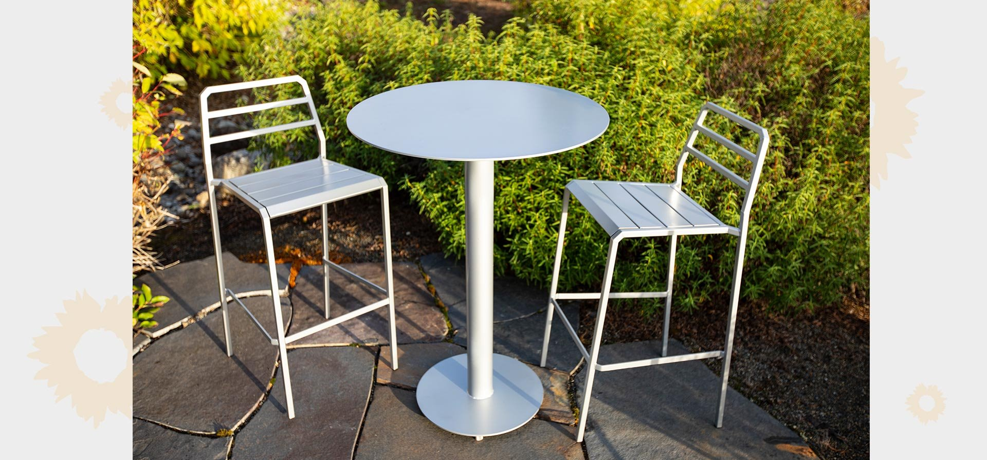 Huddle - 42 inch high bar table with bar stools